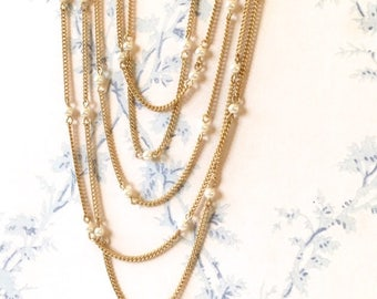 Matte Gold Pearl Bead Chain, Pearl Rosary Chain, 4mm, 5Ft