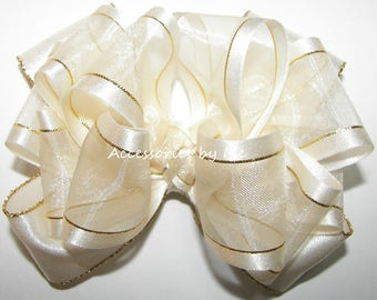 Ivory Gold Hair Bow, Baby Hair Band, Organza Satin Lame Trim Headbands, Toddler Ivory Gold Flower Girls Barrettes, Princess Ivory Gold Clips
