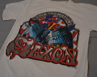 Insane Vintage 1986 SAXON Rock The Nation World Tour Concert T-Shirt
