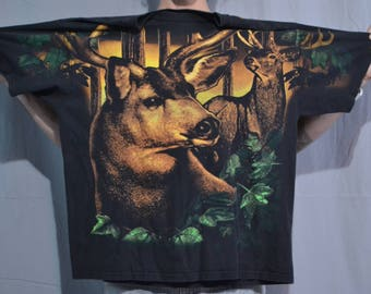Bad To The Bone Vintage 90's Big Buck All Over Print T-Shirt