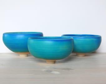 Set of three bowls Blue bowls Blue ceramic and pottery Decorative bowls Stoneware bowls Clay bowls Artistic bowls Blue stoneware handmade