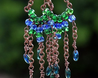 Handmade Antique Copper, Rizo Bead and Bue and Green Seed Beads Chandelier Earrings, Dangle Earrings, Jewelry, Jewellry, by Helen Jewelry