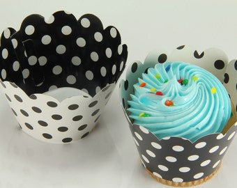 Reversible Polka Dot Wrappers Black White Cupcake Wrap Liners