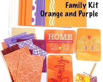 DIY Card Making Kit - Family Theme, Orange and Purple
