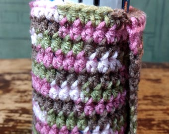 Crochet Pink Camo Can Holder/Cozie with Covered Hand Spot for Easy Movement, Great for Camping, Festivals, Parenting or Anything Else