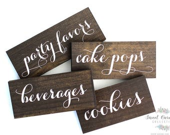 Dessert Table Wooden Labels | Wedding Signs | Candy Buffet Labels | Dessert Table Signs | Wedding Food Labels | Wedding Table Signs - WM-7