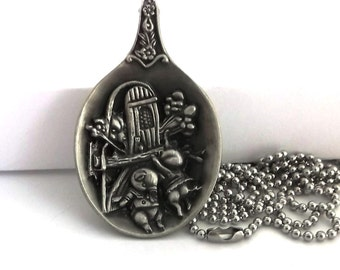 The Three Little Pigs Pendant Necklace Once Upon A Time Jewelry Vintage Spoon Repurposed Pewter No Lead Fairytale Story Wearable Silverware