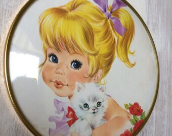 Vintage Big Eye Girl and Kitten Print Framed in a Domed Round Frame