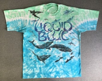 LIQUID BLUE Shirt 1992 Vintage/ 90s Ocean WHALE Humpback Beluga Orca Dolphin Sea Life Tshirt/ All Over Print Tie Dye X-Large
