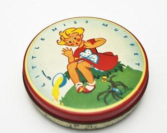 British MidCentury Vintage - Wilkin's Red Boy Toffee TIN 'Little Miss Muffet'
