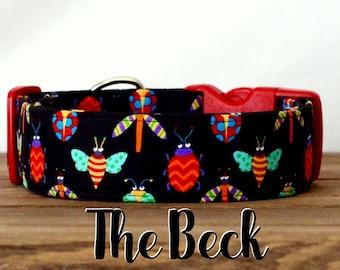 "Playful Bug Unisex Colorful Black Dog Collar ""The Beck"""