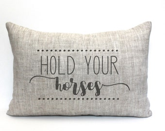 "hold your horses pillow, rustic pillow, farmhouse pillow, farmhouse decor, phrase pillow, ""hold your horses"""