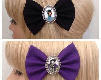 Cat woman Joker hair bow clip rockabilly psychobilly harley Quinn batman super hero geek pin up fabric purple accessories punk girls women