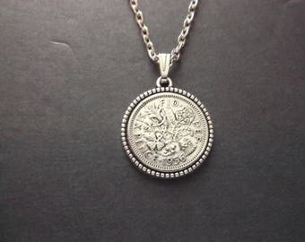 British Sixpence Coin Necklace -  British SixPence Coin Pendant in Pendant Tray- 1956 British Six Pence Coin Necklace