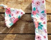 Floral Hat & Pants, Set, Stretchy, Newborn, Infant, Baby, Leggings, Girl, Pink, Gift
