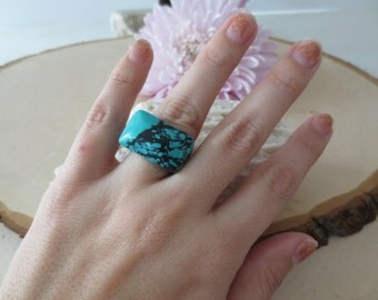 Turquoise ring, turquoise carved ring, natural gemstone ring, statement ring, square ring