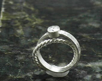 CZ Twist Double Band Stack Ring