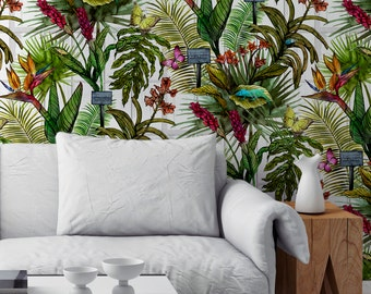 Tropical Wallpaper - Glasshouse Botanical Pattern with Palms, Insects and Greenhouse Windows