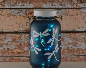White dragonflies, Mason jar lantern, hand painted glass, blue and white, hostess gift, child's room decor, teen room decor, dorm decor