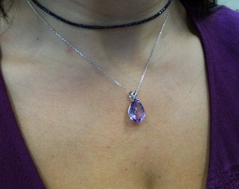 Amethyst Necklace Pear shaped Sterling Silver/ Sterling Silver Genuine Amethyst Necklace 7.20ct/ Genuine Amethyst Sterling Silver Pendant