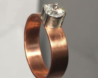 Copper Ring with CZ size 10