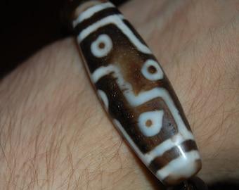 VERY RARE 9-Eye Dzi Bracelet w/ Genuine Untreated Citrine Beads from Bahia, Brazil
