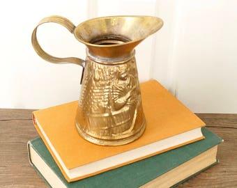 vintage brass pub pitcher embossed 19th century street musician gypsies