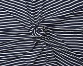 "Navy Off White 1/4"" Stripe Fabric Rayon Spandex Jersey Knit by the Yard #4 5/16"
