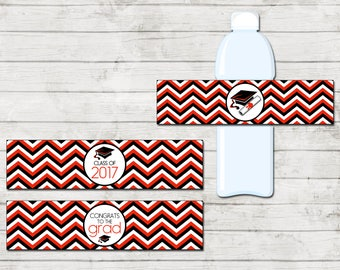 Water Bottle Labels - Graduation - Class of 2017 - Graduation Party - Red Black and White - INSTANT DOWNLOAD - Printable