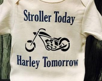 Custom Baby Onesie,Stroller Today Harley Tomorrow, Carters Brand, Baby  Shower Gift,