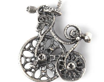 Fantasy silvering jewelry findings bike charm pendant S3404(1). Handmade findings, bicycle, silvering brass Designed and made by Anna Bronze