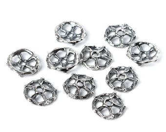 Silver bead cap flower bead cap - handmade findings- handmade flowers bead cap 10 pieces per set S2805(10). Designed and made by Anna Bronze