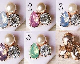 5 Flat Back Rhinestone Pearl Button Crystal  Embllishment Size 25x22MM QS-206