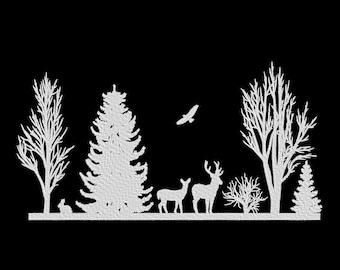 Winter Trees Scene Deer Embroidery Machine Design
