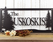 """Personalized Name Metal Wall Art   Outdoor Sign   Family Name   Custom Sign   Wedding Gift   Anniversary   Sign   Pine Trees   20""""W x 10""""H"""
