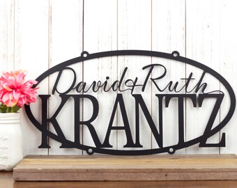 "Custom Family Name Sign | Custom Name Sign | Personalized Sign | Wedding Gift | Name Sign | Metal Wall Art | Outdoor Sign | 20""W x 10""H"