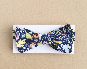 Navy Bow Tie with Nature Pattern