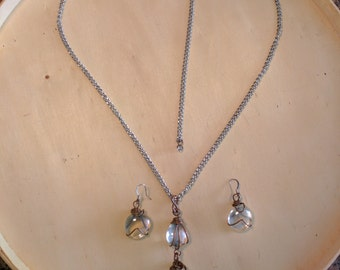Crystal Clear Glass Bead Copper Wire Wrapped Teardrop Pendant Necklace & Earrings, Water Drop Marble Pebble Adjustable Chrome Chain