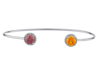 Citrine & Garnet Diamond Bangle Round Bracelet .925 Sterling Silver