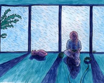 Rain - 11x14 original painting