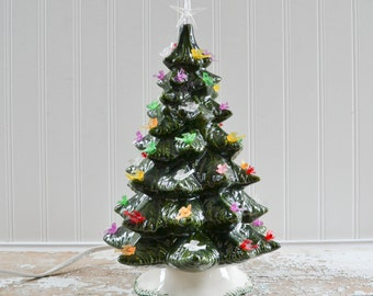 Vintage Ceramic Christmas Tree with Dove Bird Lights - 12 Inches
