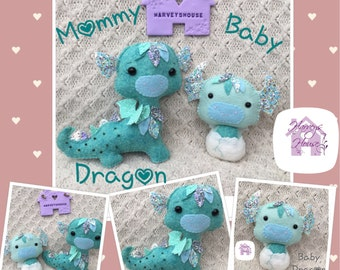 Mommy and Baby Dragon Handmade Collectable Set