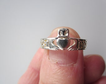 IRISH CLADDAGH 925 stamped silver plated RING