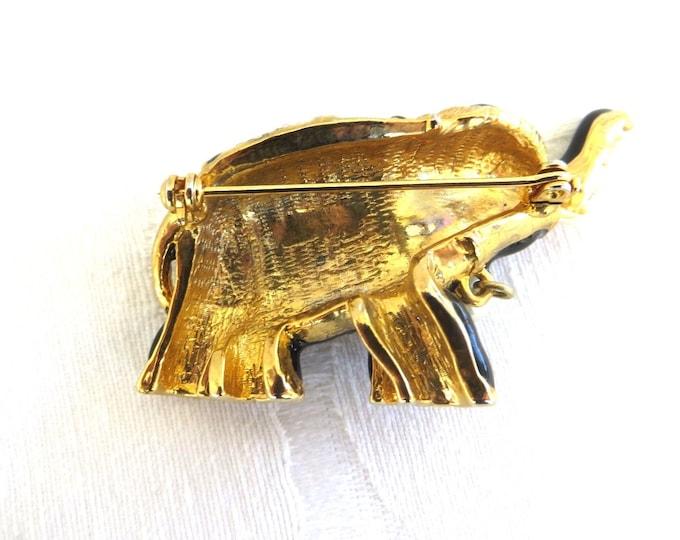 Vintage Elephant Brooch, Rhinestone and Enamel, Moghul Jewelry