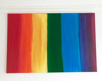 Rainbow painting, acrylic rainbow art, rainbow artwork, rainbow decor, multicolour painting, for children gift for her, home decor