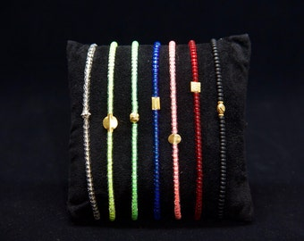 Beaded Bracelet in 14K & 18K Solid Gold - Beach Boho Stretch Cord - Neon (Green/ Pink/ Blue) Glass Beads - Men Women Unisex Gift Him Her