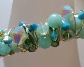 Turquoise Crystal and Pearl Bracelet