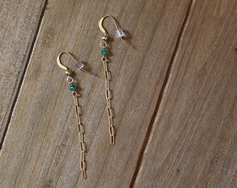 Green Onyx & 14k Gold Chain Earrings