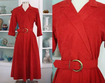 1980s Red Dress / Vintage 1940s Style Sabino Brick Red Suede Faux Wrap Dress / Midi Dress / Tomato Red / Mid Century Inspired - M