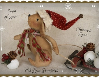 Primitive Pattern Snow Thyme Christmas Mouse ePattern